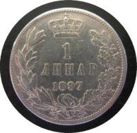 1 Dinar 1897  Serbien / Jugoslawien Alexander I. Silbermünze