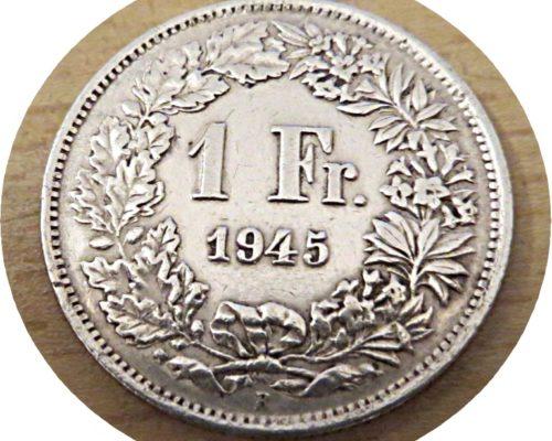 1 Franken 1945 Silbermünze Schweiz