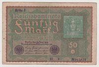 50 Mark Reichsbanknote 1919 Reihe 1 , Reihe 2, Reihe 3, Reihe 4