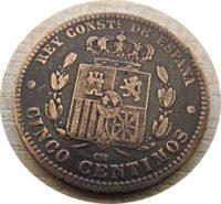 5 Centimos 1877 Spanien