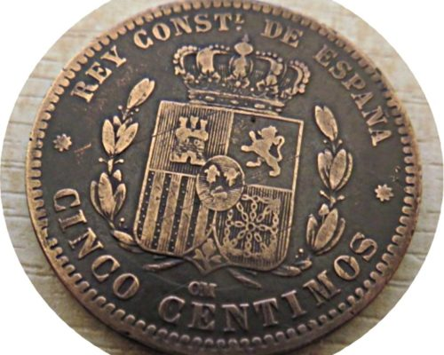 5 Centimos 1877 Spanien - Alfonso XII.