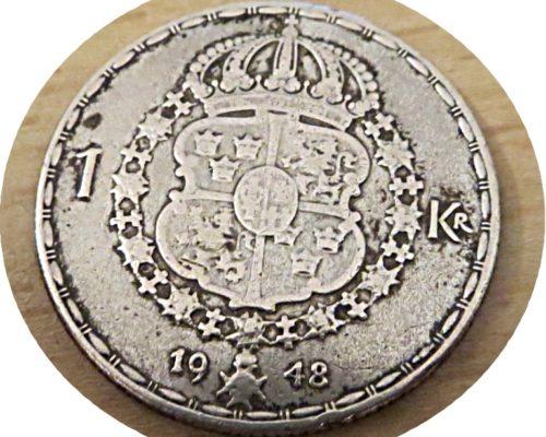 1 Krone 1948 Schweden Silbermünze