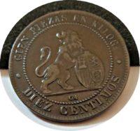 "10 Centimos 1870 Spanien ""perra gorda"" = die fette Hündin"