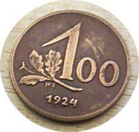 1 Groschen = 100 Kronen 1924 1. Republik Österreich