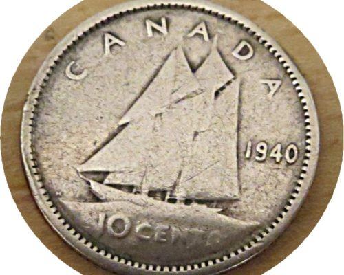 10 Cent 1940 Silbermünze Kanada / silver coin Canada