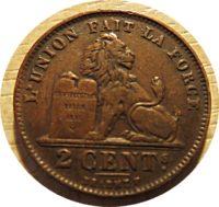 2 Centimes 1919 Belgien Münze
