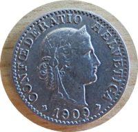 20 Rappen 1909  Schweiz Münzen Swiss coins