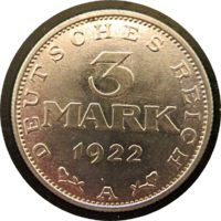 3 Mark A 1922 Aluminium Deutschland Münzen