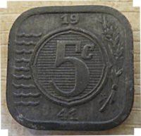 5 Cent 1941  Holland Münzen