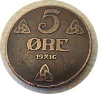 5 Öre 1916 Norwegen Münzen