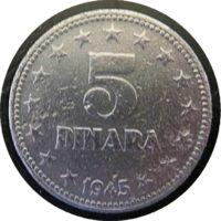 5 Dinar 1945 Jugoslawien