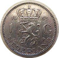 1 Gulden 1955 Niederland Holland Silbermünzen