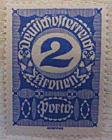 2 Kronen Porto Deutsch Österreich Fiskalmarke Österreich