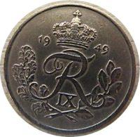 25 Öre 1949  Dänemark Münzen
