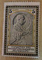 """Hilfsaktion des Kriegsfürsorgeamtes """"Kälteschutz"""" - Kaiser Franz Joseph I. 5 Heller- Vignette - Spendenmarke"""