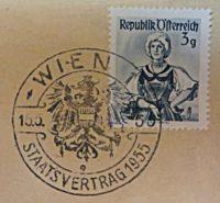Poststempel Staatsvertrag 15.5.1955 3 Groschen Trachten Briefmarken Österreich