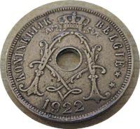 25 Centimes 1922  Belgien Münzen