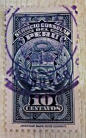"Konsulatsmarke Peru - Stempel ""Hamburgo"""