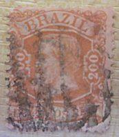 200 Reis Dom Pedro II. 1881 braun rot Briefmarken Brasilien