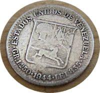 25 centimos 1944 1/4 Bolivar Silbermünze Venezuela