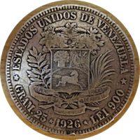 5 Bolivar 1926 Silber Münze Venezuela