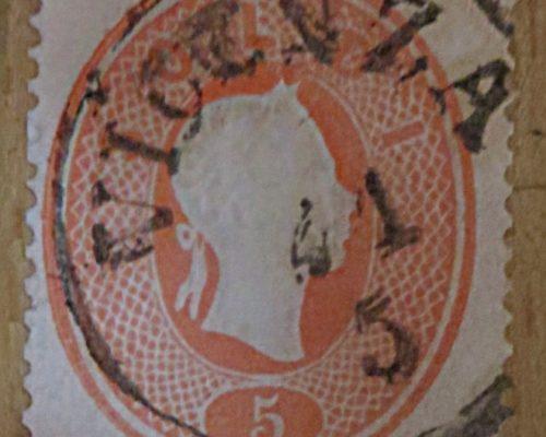 5 Soldi 1861 Lombardei Venetien Briefmarken Poststempel Vicenza Kaiserkopf rechts