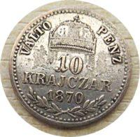 10 Krajczar 1870 Kaiser Franz Josef I. Silber- Münzen Österreich-Ungarn