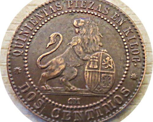2 centimos  2 gramos 1870  Münzen Spanien