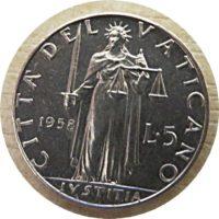 5 Lire 1958 Vatican - citá del Vatican