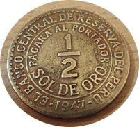 halber sol de oro 1947 Peru Münzen