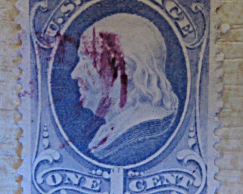 ONE  1 Cent Benjamin Franklin blau USA Marken 19. Jahrhundert