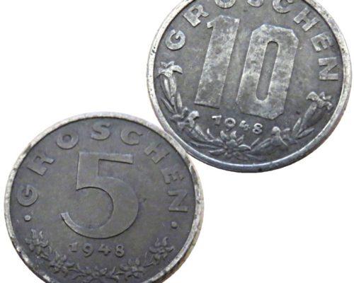 5 Groschen 1948 10 Groschen 1948 Münzen Österreich Austria coins