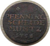 1 Pfenning Scheide Muntz IBH 1758 CU-Pfennig