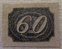 """60 Reis Ochsenauge - """"inclinados"""" 1844 - Ganzsache Ausschnitt Brasilien - cut from postal stationary Brazil"""