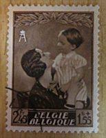 Königin Astrid mit Prinz Baudouin 1937 Briefmarken Belgien