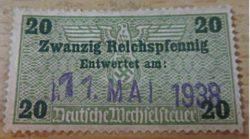 Deutsche Wechselsteuer 1938 Fiskalmarken Deutschland