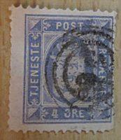 tjeneste post frimærke 4 Ore Dienstmarke Dänemark
