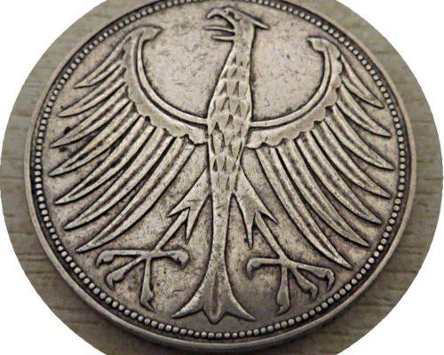 5 Mark F 1956 5 Mark J 1951 Silbermuenzen Deutschland